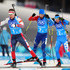 Dominik Windisch Photos - Emil Hegle Svendsen of Norway, Martin Fourcade of France and Dominik Windisch of Italy compete in the final leg during the Biathlon 2x6km Women + 2x7.5km Men Mixed Relay on day 11 of the PyeongChang 2018 Winter Olympic Games at Alpensia Biathlon Centre on February 20, 2018 in Pyeongchang-gun, South Korea. - Biathlon - Winter Olympics Day 11