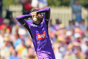 Shoaib Malik of the Hurricanes bowls during the Big Bash League match between the Hobart Hurricanes and the Perth Scorchers at Blundstone Arena on January 11, 2015 in Hobart, Australia.