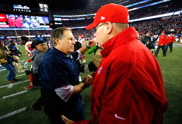 Divisional Round - Kansas City Chiefs v New England Patriots [sport venue,fan,product,stadium,red,crowd,competition event,team sport,player,team,bill belichick,andy reid,hands,foxboro,new england patriots,kansas city chiefs,afc divisional,chiefs,round,playoff game]