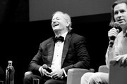 This image has been converted in black and white) Bill Murray and Wes Anderson attend the masterclass during the 14th Rome Film Festival on October 19, 2019 in Rome, Italy.