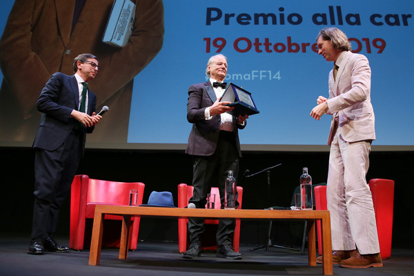 Bill Murray Masterclass - 14th Rome Film Fest 2019 [event,public speaking,speech,orator,technology,performance,job,stage equipment,table,competition,bill murray masterclass - 14th rome film fest 2019,bill murray,wes anderson,antonio monda,l-r,lifetime achievement award,rome,italy,rome film festival]