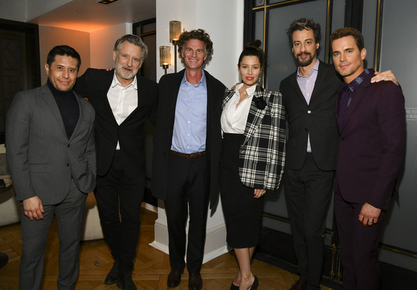 "Premiere Of USA Network's ""The Sinner"" Season 3 - After Party [the sinner,season,event,suit,formal wear,white-collar worker,team,jessica biel,derek simonds,charlie gogolak,portrait,l-r,usa network,premiere,party,bill pullman,matt bomer,derek simonds,jessica biel,chris mccumber,the sinner,photograph,stock photography,image]"