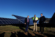 Leader of the Opposition, Australian Labor Party Bill Shorten (L) and Labor candidate for Eden-Monaro Mike Kelly (R) visit the Royalla Solar Farm on June 28, 2016 in Canberra, Australia. Mr Shorten used the visit to outline Labor's policy plans for the renewable energy sector, address climate change and create jobs.