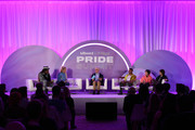 (L-R) Big Freedia, Hayley Kiyoko, Nolan Feeney, ILoveMakonnen and Tegan And Sara speak onstage at the 'Queer Headliners 2019' panel during the Billboard And The Hollywood Reporter Pride Summit on August 08, 2019 in West Hollywood, California.