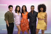 (L-R) Angel Bismark Curiel, Hailie Sahar, Mj Rodriguez, Dyllón Burnside, Indya Moore attend the Billboard And The Hollywood Reporter Pride Summit on August 08, 2019 in West Hollywood, California.