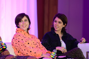 Tegan And Sara speak  onstage at the 'Queer Headliners 2019' panel during the Billboard And The Hollywood Reporter Pride Summit on August 08, 2019 in West Hollywood, California.