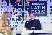 Leila Cobo and Miguel Bose speak at the Billboard Latin Conference 2017 at Ritz Carlton South Beach on April 26, 2017 in Miami Beach, Florida.