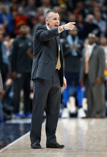 Oklahoma City Thunder v Indiana Pacers [oklahoma city thunder,indiana pacers,team,v,note,instructions,suit,coach,audience,formal wear,event,outerwear,competition event,performance,crowd,billy donovan,user,head coach,user]