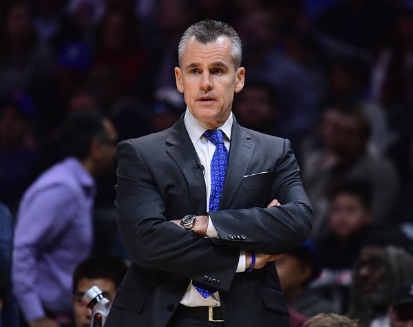 Oklahoma City Thunder v Los Angeles Clippers [play,suit,speech,event,white-collar worker,competition event,coach,businessperson,official,formal wear,gesture,billy donovan,los angeles,california,staples center,oklahoma city thunder,los angeles clippers,win]