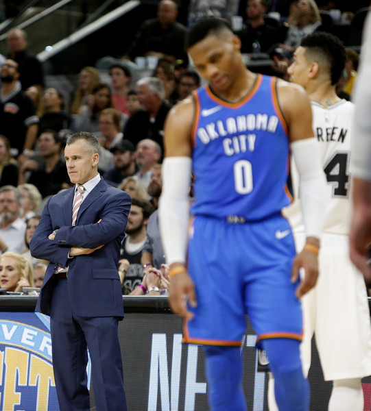 Oklahoma City Thunder v San Antonio Spurs [photograph,sports,basketball player,team sport,player,ball game,fan,basketball moves,sportswear,championship,tournament,billy donovan,user,user,russell westbrook,v,note,game,oklahoma city thunder,san antonio spurs]