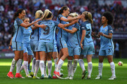 Jill Scott of Manchester City celebrates scoring her sides fourth goal with her Man City team mates during the SSE Women's FA Cup Final between Birmingham City Ladies and Manchester City Women at Wembley Stadium on May 13, 2017 in London, England.