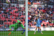 Jill Scott of Manchester City scores her sides fourth goal during the SSE Women's FA Cup Final between Birmingham City Ladies and Manchester City Women at Wembley Stadium on May 13, 2017 in London, England.