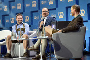 Rolf Schroemgens, Kevin Spacey and Lukas Gadowski during the 'Bits & Pretzels Founders Festival' at ICM Munich on September 24, 2017 in Munich, Germany.