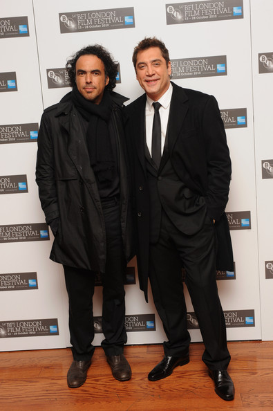 Actor Javier Bardem (R) and director Alejandro Gonzalez Inarritu attend the premiere of 'Biutiful' during the 54th BFI London Film Festival at the Vue West End on October 26, 2010 in London, England.