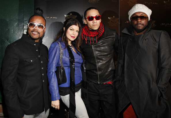 (L-R) Apl.de.ap, Fergie, Taboo, and will.i.am of The Black Eyed Peas attend the Jump Footwear Launch TABOOXJUMP at Juliet on November 12, 2009 in New York City.