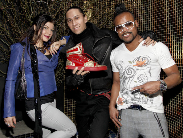 (L-R) Musicians Fergie, Taboo, and apl.de.ap of The Black Eyed Peas attend the Jump Footwear Launch TABOOXJUMP at Juliet on November 12, 2009 in New York City.
