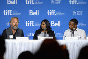 "(L-R) Actor Kevin Costner, actress Octavia Spencer and actor Anthony Mackie speak onstage at ""Black And White"" Press Conference during the 2014 Toronto International Film Festival at TIFF Bell Lightbox on September 7, 2014 in Toronto, Canada."