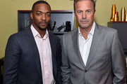 "Anthony Mackie and Kevin Costner attend ""Black or White"" red carpet screening at Regal Atlantic Station on January 22, 2015 in Atlanta, Georgia."