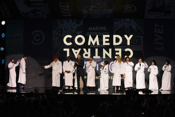 Comedy Central Live 2016 Upfront - Presentation [performance,musical,stage,event,musical theatre,music,font,choir,performing arts,gospel music,presentation,l-r,comedians,nathan fielder,jeff ross,derek waters,trevor noah,natasha leggero,riki lindhome,comedy central]