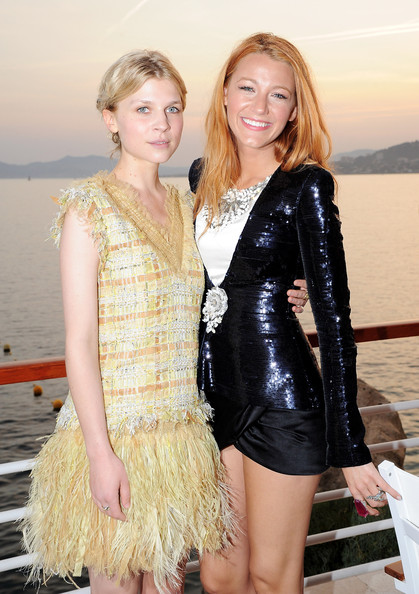 Blake Lively Clemence Poesy (L) and Blake Lively attend the Chanel Collection Croisiere Show 2011-12 at the Hotel du Cap on May 9, 2011 in Cap d'Antibes, France.