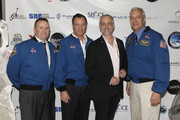 (L-R) Astronaut Ken Ham, astronaut Michael Lopez-Alegria, Richard Garriott, and astronaut Mike Massimino attend Blast Off: The Future of Spaceflight at The Explorers Club on May 1, 2014 in New York City.
