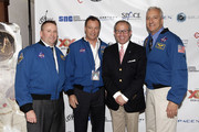 (L-R) Astronaut Ken Ham, astronaut Michael Lopez-Alegria, Will Roseman, and astronaut Mike Massimino attend Blast Off: The Future of Spaceflight at The Explorers Club on May 1, 2014 in New York City.