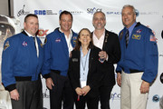 (L-R) Astronaut Ken Ham, astronaut Michael Lopez-Alegria, Esther Dyson, Richard Garriott, and astronaut Mike Massimino attend Blast Off: The Future of Spaceflight at The Explorers Club on May 1, 2014 in New York City.