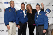 (L-R) Astronaut Mike Massimino, astronaut Michael Lopez-Alegria, Annie Balliro, and astronaut Ken Ham attend Blast Off: The Future of Spaceflight at The Explorers Club on May 1, 2014 in New York City.