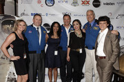 (L-R) Nicole Jordan, astronaut Ken Ham, Sirisha Bandla, astronaut Michael Lopez-Alegria, Kellie Gerardi, astronaut Mike Massimino, and Alex Saltman attend Blast Off: The Future of Spaceflight at The Explorers Club on May 1, 2014 in New York City.