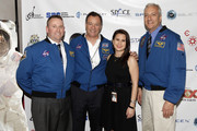 (L-R) Astronauts Ken Ham, Michael Lopez-Alegria, Caitlin O'Keefe, and astroanut Mike Massimino attend Blast Off: The Future of Spaceflight at The Explorers Club on May 1, 2014 in New York City.