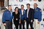 (L-R) Astronaut Ken Ham, Kellie Gerardi, astronaut Michael Lopez-Alegria, Steven Baumruk, and astronaut  Mike Massimino attend Blast Off: The Future of Spaceflight at The Explorers Club on May 1, 2014 in New York City.