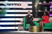 Actress Karrueche Tran and Andrea Lewis on stage during the Blavity Inc.'s Summit21 Influencer Conference for black women on June 08, 2019 in Atlanta, Georgia.