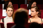 Actresses Taissa Farmiga and Emma Watson attend the 'Jeune & Jolie' premiere during The 66th Annual Cannes Film Festival at the  Palais des Festivals on May 16, 2013 in Cannes, France.