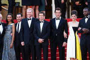(L-R) James Caan, Zoe Saldana, Billy Crudup, Noah Emmerich, Guillaume Canet, Clive Owen, Marion Cotillard, and Jamie Hector attend the 'Blood Ties' Premiere during the 66th Annual Cannes Film Festival at the Palais des Festivals on May 20, 2013 in Cannes, France.