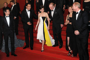 (L-R) Director Guillaume Canet, actors Clive Owen, Marion Cotillard, James Caan, Lily Taylor and Noah Emmerich attend the 'Blood Ties' Premiere during the 66th Annual Cannes Film Festival at the Palais des Festivals on May 20, 2013 in Cannes, France.