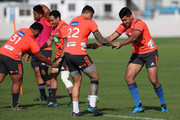 Blues player Rieko Ioane (R) warms up with Sonny Bill Williams (L) during a Blues training session on April 18, 2018 in Auckland, New Zealand.