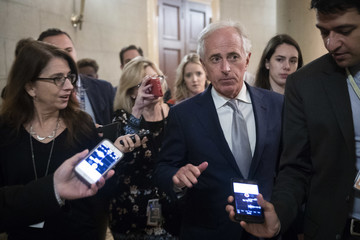 Bob Corker Senate GOP Conference Meets After Contentious Judiciary Committee Hearing