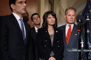 (L-R) House Majority Leader Eric Cantor (R-VA), U.S. Rep. Tim Scott (R-SC), U.S. Rep. Paul Ryan (R-WI), U.S. Rep. Kristi Noem (R-SD) and U.S. Rep. David Dreier (R-CA) join fellow Republicans for a media availability in the Speaker's offices in the U.S. Capitol March 29, 2011 in Washington, DC. With the threat of an government shutdown looming if a budget deal isn't passed by April 8, Speaker John Boehner (R-OH) and the House GOP leaders blamed Senate Democrats for the failure to pass a long-term bill to cut spending and keep the federal government running.