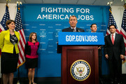 Speaker of the House John Boehner (R-OH) speaks during a press conference, on Capitol Hill, July 9, 2013 in Washington, DC. Boehner and the Republican leadership discussed the immigration bill and the Obama administration's decision to delay a portion of the Affordable Care Act, which will extend the deadline for employer mandated health care to 2015. Looking on, from left, are Rep. Cathy McMorris Rodgers (R-WA), Rep. Lynn Jenkins (R-KS), Rep. Trey Radel (R-FL), and House Majority Leader Rep. Eric Cantor (R-VA).