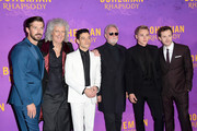 (L-R) Gwilym Lee, Brian May, Rami Malek, Roger Taylor, Ben Hardy and Joe Mazzello attend the World Premiere of 'Bohemian Rhapsody' at SSE Arena Wembley on October 23, 2018 in London, England.