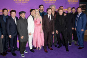 (L-R) Allen Leech, Mike Myers, Tom Hollander, Rami Malek, Lucy Boynton, Gwilym Lee, Joe Mazzello, Brian May, Ben Hardy, Roger Taylor and guests attend the World Premiere of 'Bohemian Rhapsody' at SSE Arena Wembley on October 23, 2018 in London, England.