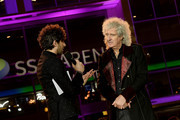 Alex Zane interviews Brian May at the World Premiere of 'Bohemian Rhapsody' at SSE Arena Wembley on October 23, 2018 in London, England.