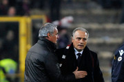 Claudio Ranieri coach of Roma meet Fanco Colomba coach of Bologna during the Serie A match between Bologna FC and AS Roma at Stadio Renato Dall'Ara on March 24, 2010 in Bologna, Italy.