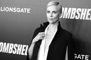 """image has been converted to black and white)  Charlize Theron attends """"Bombshell"""" New York screening at Jazz at Lincoln Center on December 16, 2019 in New York City."""