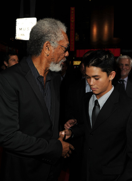 Boo Boo Stewart Actors Morgan Freeman and BooBoo Stewart arrive at a special screening of Summit Entertainment's