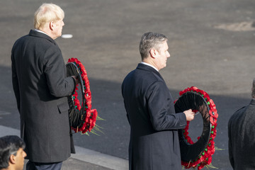 Boris Johnson Keir Starmer National Service Of Remembrance At The Cenotaph