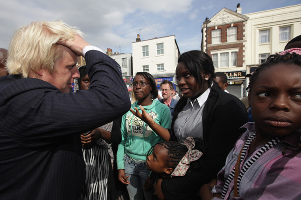 Boris Johnson London Mayor Boris Johnson meets local residents in Tottenham after the area was affected by the recent riots, on August 10, 2011 in London, England. After rioting and looting for three days in London, trouble has spread to other cities across the UK, including Manchester and Birmingham.