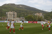 England national women's team players warm up prior the UEFA Women's European Championship Qualifier at FF BIH Football Training Centre on April 12, 2016 in Zenica, Bosnia and Herzegovina.