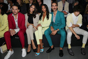 (L-R) (1st from Left) G Eazy, (2nd from Left) Yasmine Wijnaldum, (2nd from right) Jon Kortajarena and guest attend the Boss fashion show during the Milan Fashion Week Spring/Summer 2020 on September 22, 2019 in Milan, Italy.