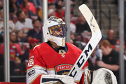 Goaltender Roberto Luongo #1 of the Florida Panthers looks up ice during a break in action against the Boston Bruins at the BB&T Center on April 5, 2018 in Sunrise, Florida. Luongo is playing in his 1,000 NHL game as a goaltender, joining Martin Brodeur and Patrick Roy in the exclusive club.